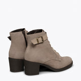 TOP - Bottines à lacets TAUPE à talon