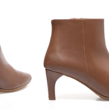 OUTFIT - bottines kitten heel cuir CAMEL