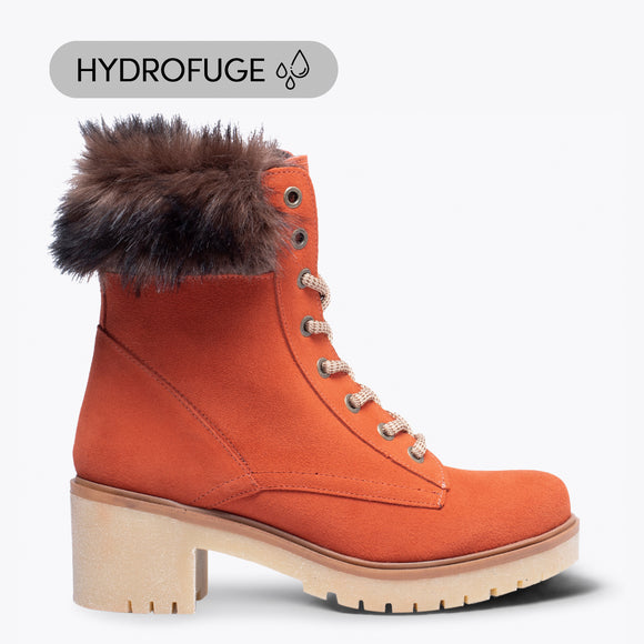 MOUNTAIN- Bottes de montagne HYDROFUGES à talon TERRACOTA
