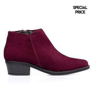 BASIC - Bottines en cuir petit talon BORDEAUX