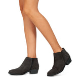 BASIC - Bottines en cuir petit talon GRIS