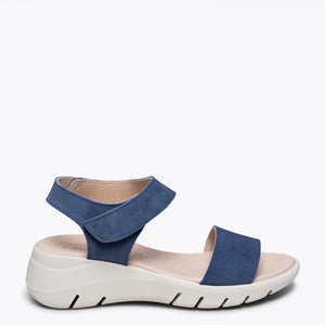 360 -Sandale en cuir BLEU ultra flexible