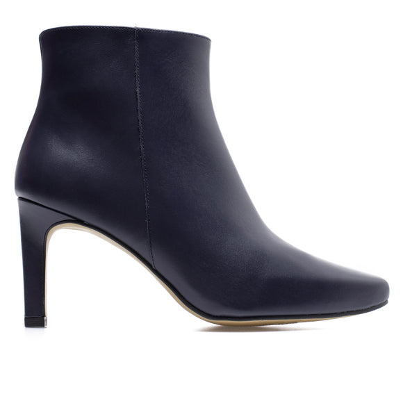 STILETTO - bottines kitten heel cuir BLEU MARINE
