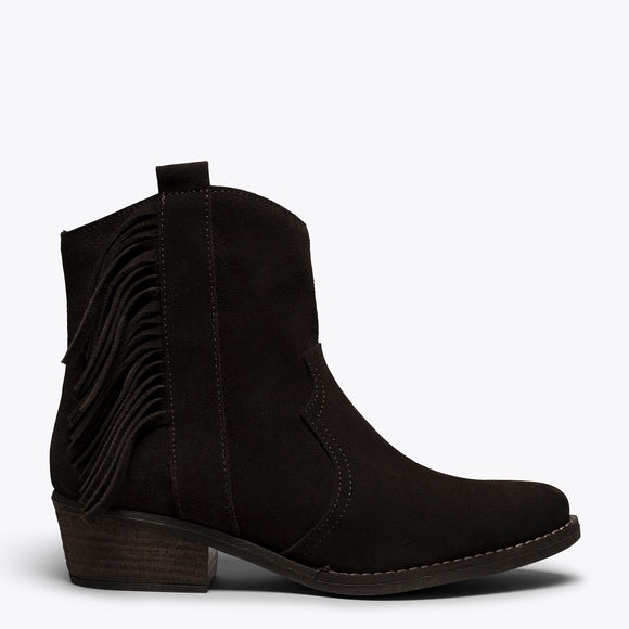 BOHO- Bottines MARRON style cowboy avec franges