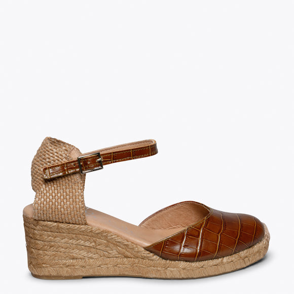 ALTEA - Espadrille compensée CROCODILE MARRON