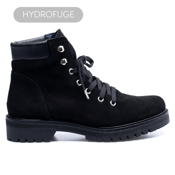 AVIATOR - Bottine NOIR avec ornement trecking (hydrofuge)