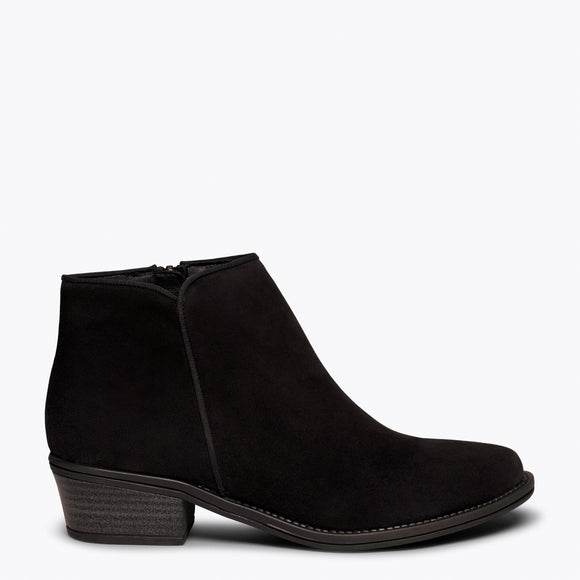 BASIC - Bottine en cuir NOIR nubuck à talon bas