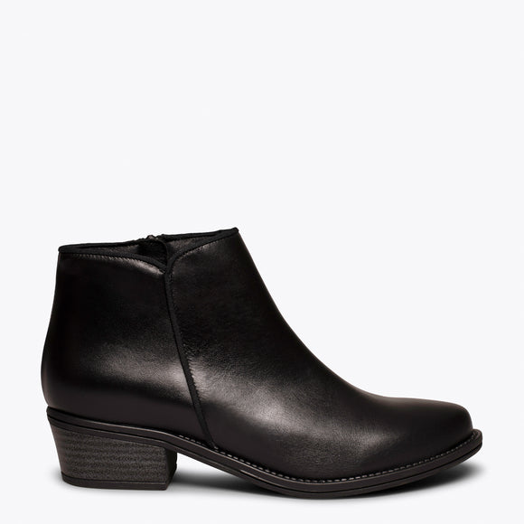 BASIC - Bottine en cuir NOIR à talon bas