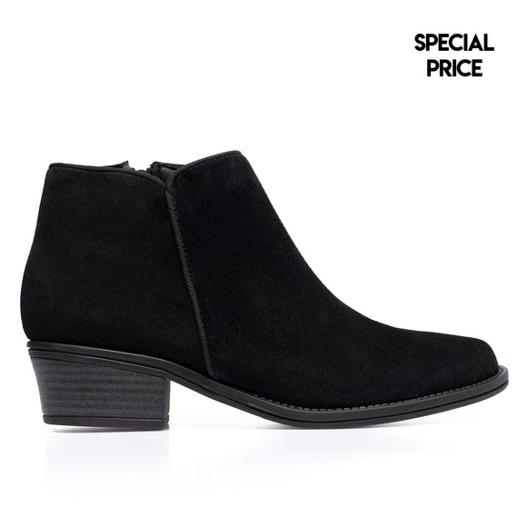 BASIC - Bottines en cuir petit talon NOIR