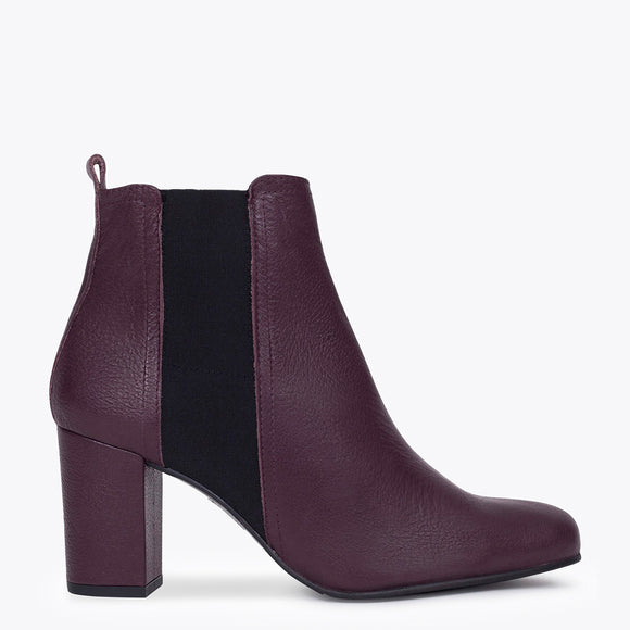 BOTTINES URBAN à talon BORDEAUX