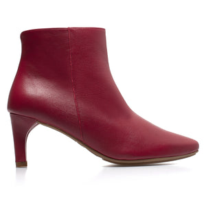 OUTFIT - bottines kitten heel cuir ROUGE