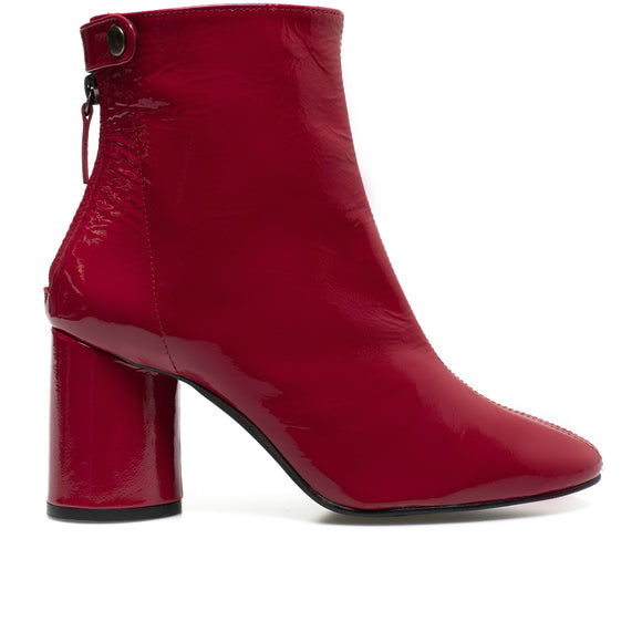 VERNI - Bottines en cuir verni ROUGE
