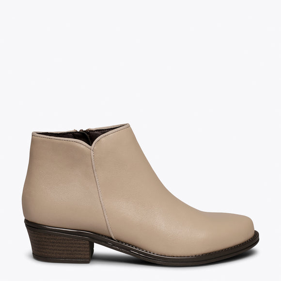 BASIC - Bottine en cuir BEIGE à talon bas
