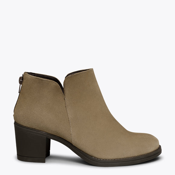LOOK - Bottines TAUPE tige courte pour femme
