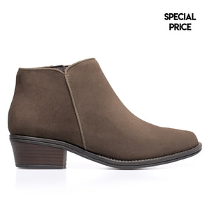 BASIC - Bottines en cuir petit talon TAUPE