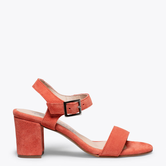 CASUAL - Sandales pour femme ORANGE à talon