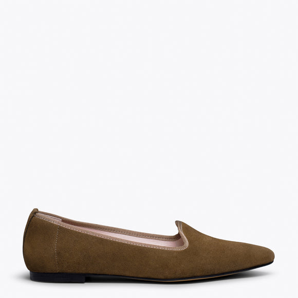 SLIPPER - Slipper en cuir MARRON avec bout pointu