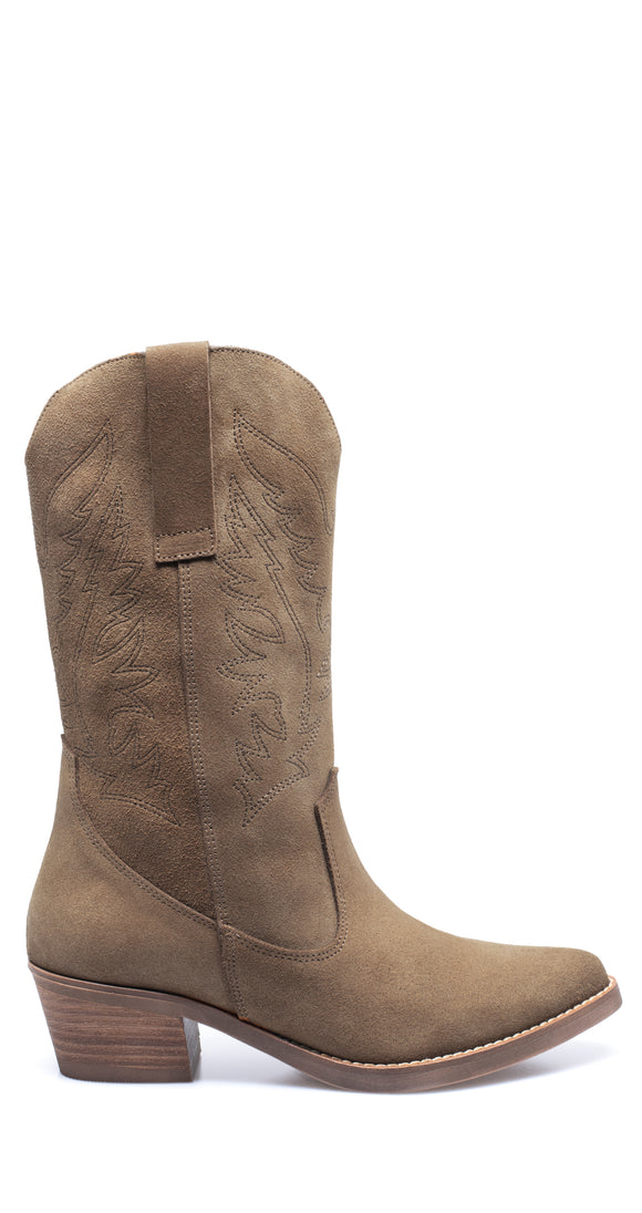 DALLAS - Bottes style cow-boy TAUPE nubuck