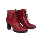 BOTTINES À LACETS rouge