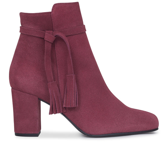 BOTTINES BOHO à talon ROUGE CERISE