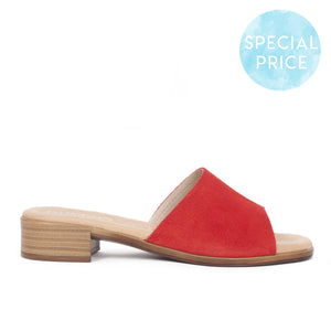 Sandales mules talon Confort Gel Rouge