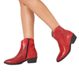 COW-BOY - Bottine cowboy pour femme ROUGE