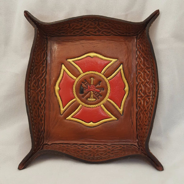 Leather dresser valet with Maltese Cross