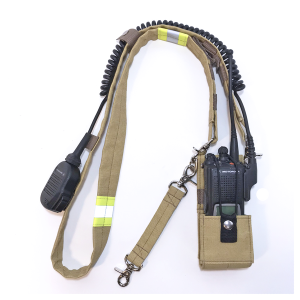 Bunker Gear Radio Strap System in Tan with Yellow Trim