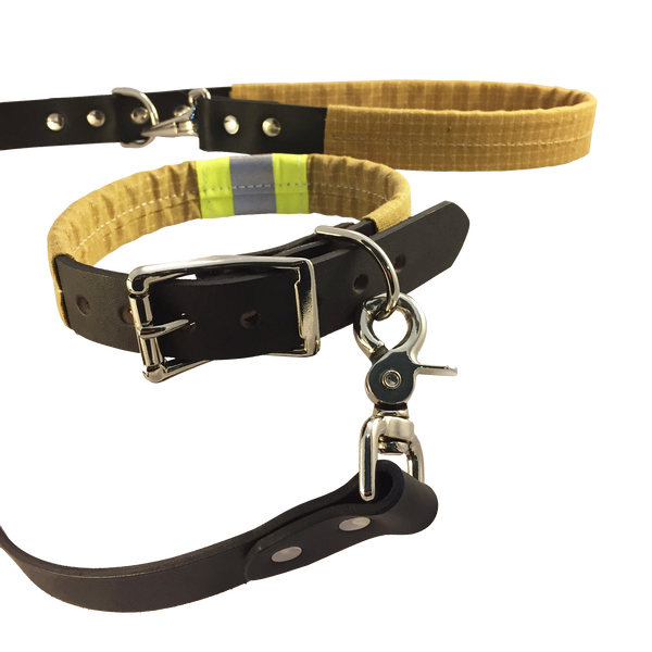 Bunker Gear and Black Leather Dog Collar and Leash