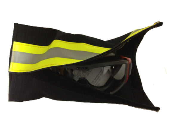 Black goggle garage with goggles