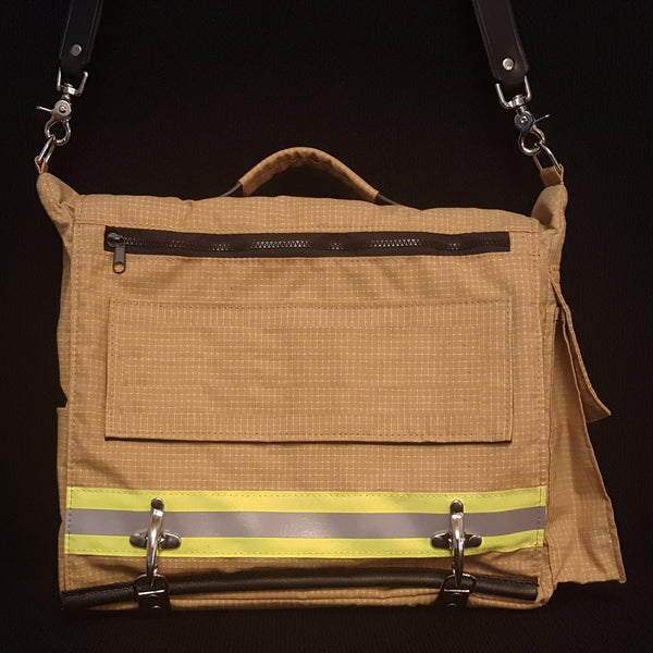 Laptop bag in tan bunker gear with blank name panel