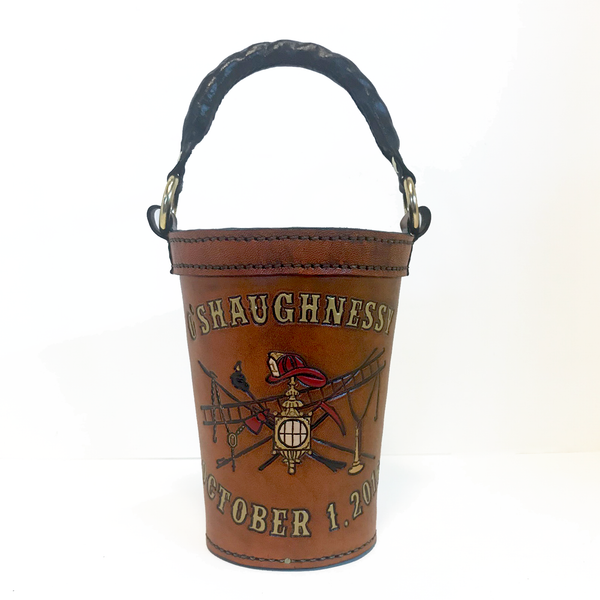 Tailboard Leather Fire Bucket Personalized