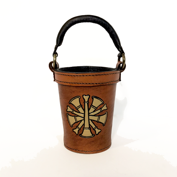 Tailboard Leather Fire Bucket with Chiefs Trumpets