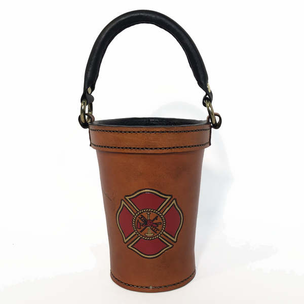 Tailboard Leather Fire Bucket with Maltese Cross