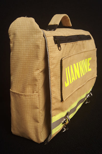 Laptop bag in tan bunker gear flap pocket