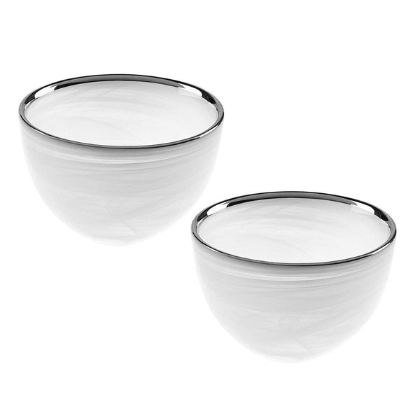 White Alabaster Glass Bowls with Silver Trim