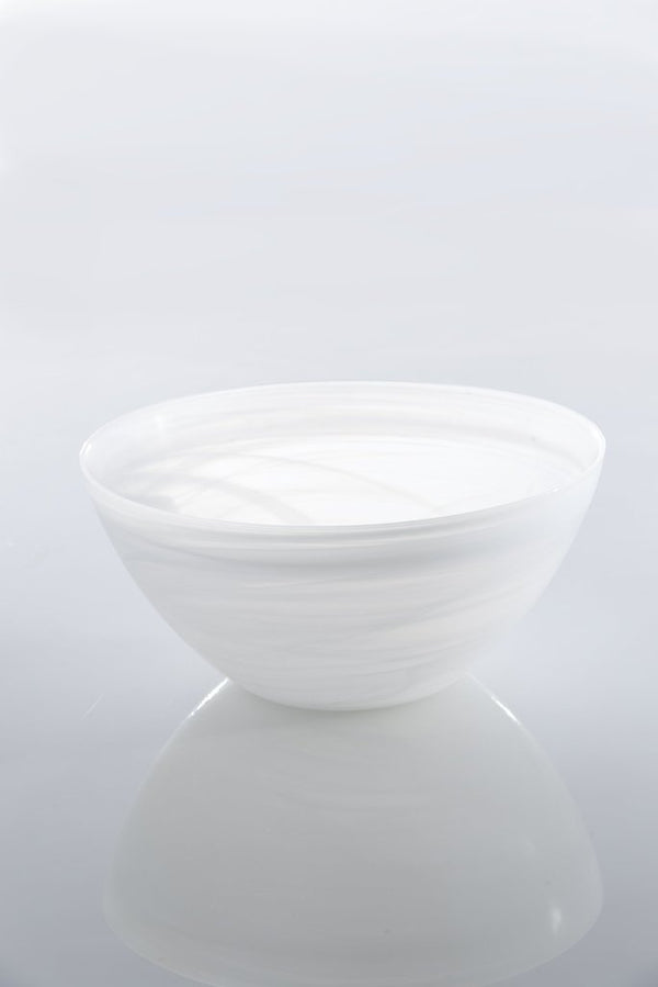 Large Polished Alabaster Bowl White