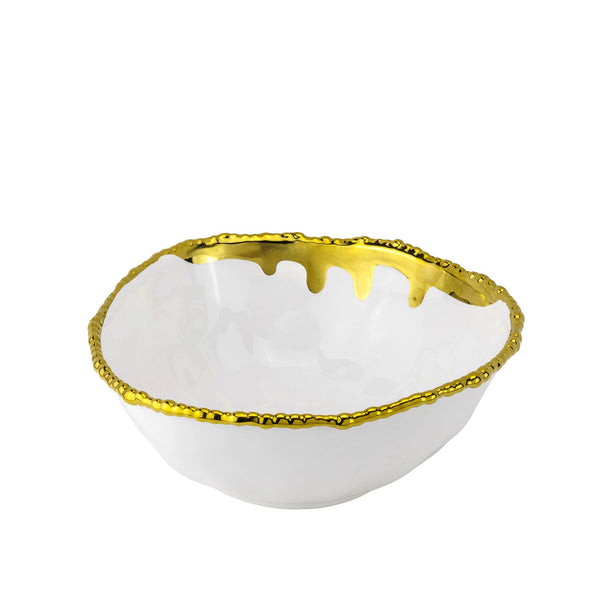 "Bowl Paint Spill Gold  9.5"" /11"""