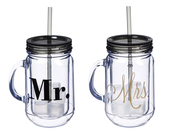 Mr. & Mrs. Acrylic Mason Jars , Set of 2