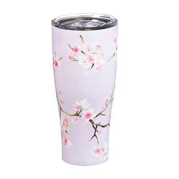 Double Wall 17 OZ Stainless Steel Beverage Cup, Cherry Blossom
