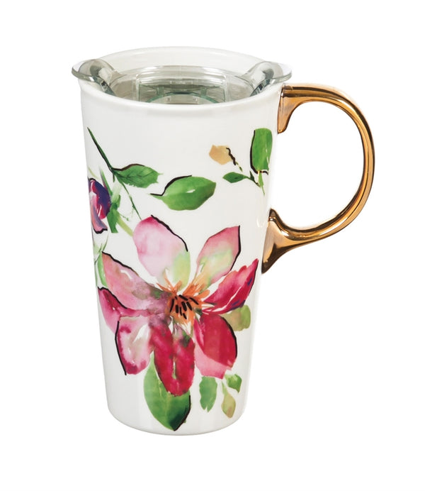 Ceramic Travel Cup w/box and Triton Lid, 17 OZ., Pink Floral Dream