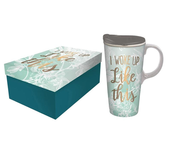 "Ceramic Travel Cup ""I Woke Up Like This"""