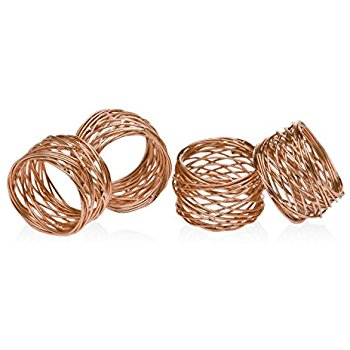 Set of 4 Gold Round Mesh Napkin Rings