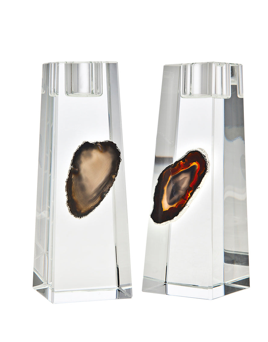 Medium Agate Candlestick Black/Silver Set/2