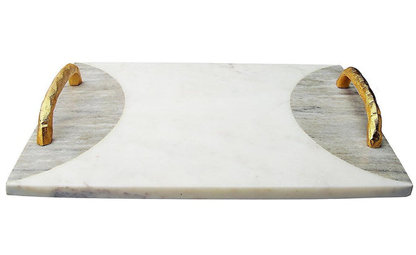 White Marble Challah Tray w/ Gold Handles & Gray