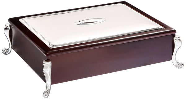 Wooden Tea Box, Mahogany and Silverplate