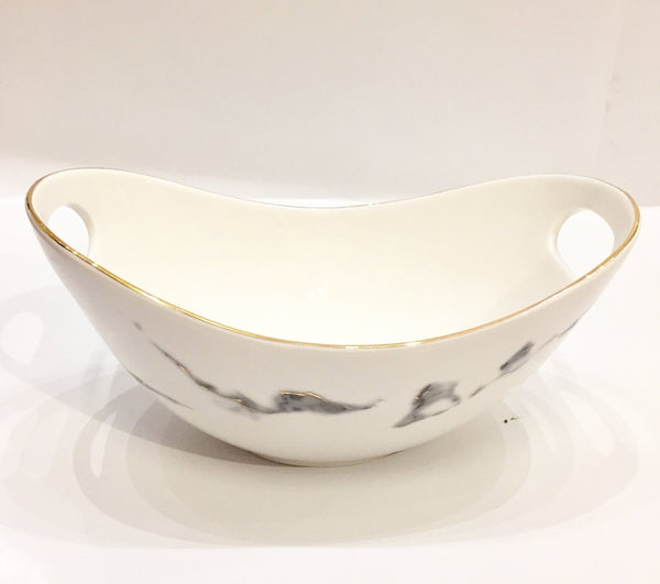 Oval Salad Bowl with Handles - Marble