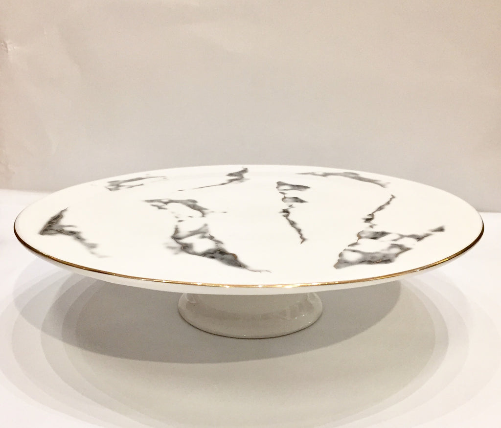 Cake Plate with Foot - Marble