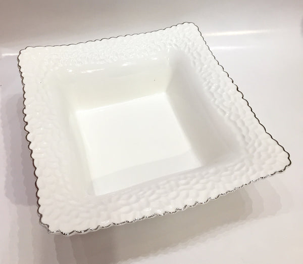 Hammered White Square Bowl Silver
