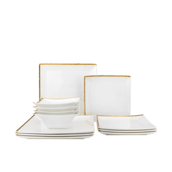 Gold Relief Dinner Set- 12pc